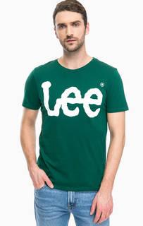 Зеленая футболка с логотипом бренда Lee