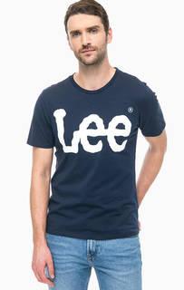 Синяя футболка с логотипом бренда Lee