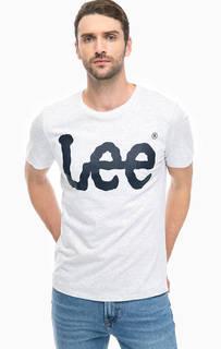 Серая футболка с логотипом бренда Lee