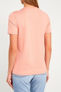 Хлопковая футболка персикового цвета Acne Studios