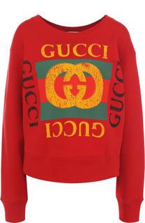 Хлопковый свитшот с декорированной спинкой и логотипом бренда Gucci
