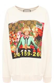 Хлопковый свитшот свободного кроя с принтом Gucci