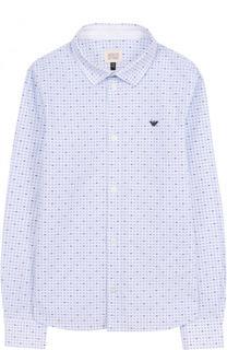 Хлопковая рубашка с принтом Armani Junior