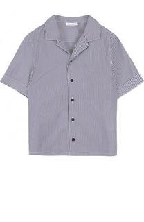 Хлопковая рубашка в полоску с логотипом бренда Dolce & Gabbana