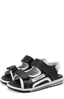 Кожаные сандалии с застежками велькро Dolce & Gabbana