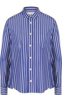 Хлопковая блуза свободного кроя в полоску Sacai