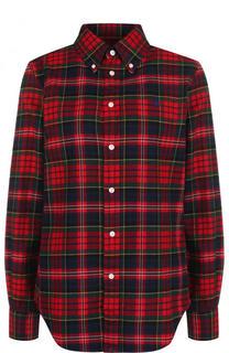 Хлопковая блуза свободного кроя в клетку Polo Ralph Lauren