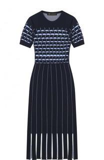 Приталенное платье-миди с коротким рукавом Versace
