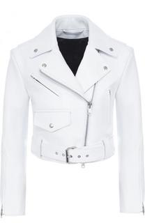 Укороченная кожаная куртка с косой молнией CALVIN KLEIN 205W39NYC
