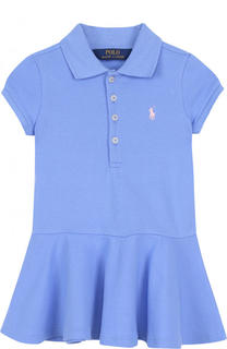 Хлопковое мини-платье с логотипом бренда Polo Ralph Lauren