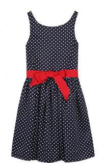 Приталенное платье с контрастным поясом Polo Ralph Lauren