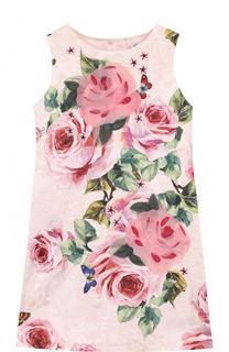 Мини-платье из хлопка и шелка с принтом и аппликациями Dolce & Gabbana