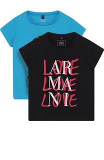 Хлопковый комплект из двух футболок с принтом Armani Junior