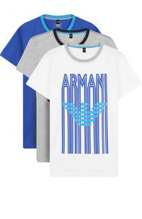 Комплект из трех футболок с принтом Armani Junior