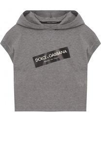 Хлопковая футболка с капюшоном и логотипом бренда Dolce & Gabbana