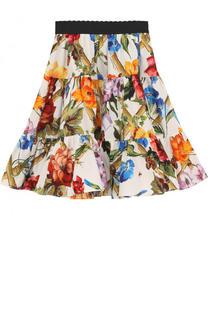 Хлопковая юбка свободного кроя с принтом и эластичным поясом Dolce & Gabbana