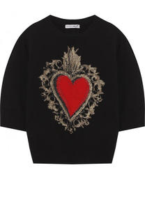 Шерстяной пуловер с круглым вырезом и металлизированной отделкой Dolce & Gabbana