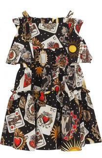 Хлопковое платье с принтом на бретельках Dolce & Gabbana