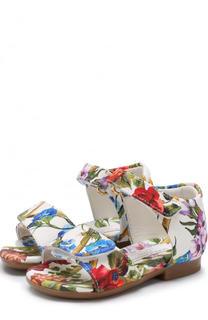 Текстильные сандалии с принтом и застежками велькро Dolce & Gabbana