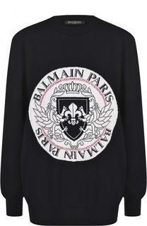 Шерстяной пуловер с круглым вырезом Balmain