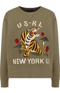 Свитшот свободного кроя с контрастной вышивкой Polo Ralph Lauren