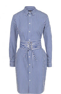 Хлопковое платье-рубашка в полоску с широким поясом Polo Ralph Lauren