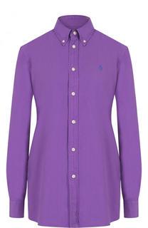Однотонная хлопковая блуза прямого кроя Polo Ralph Lauren