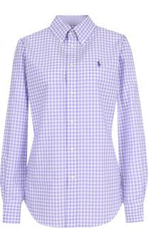 Приталенная хлопковая блуза в клетку Polo Ralph Lauren