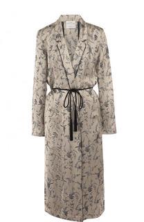 Пальто свободного кроя с принтом и поясом Forte_forte