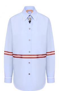 Хлопковая блуза в пижамном стиле с декорированной пуговицей No. 21