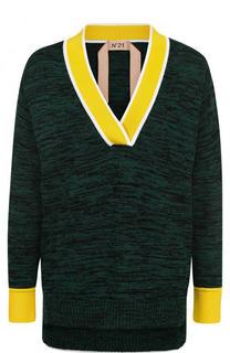Хлопковый пуловер с V-образным вырезом No. 21