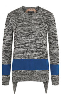 Хлопковый пуловер свободного кроя с круглым вырезом No. 21