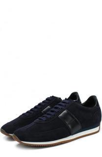 Замшевые кроссовки на шнуровке Tom Ford