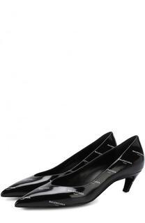 Кожаные туфли Slash на каблуке kitten heel Balenciaga