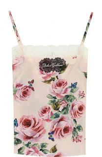 Шелковый топ с кружевной отделкой и цветочным принтом Dolce & Gabbana