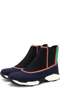 Высокие текстильные кроссовки без шнуровки Marni