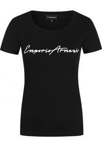 Однотонная хлопковая футболка с логотипом бренда Emporio Armani