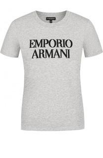 Хлопковая футболка с логотипом бренда и пайетками Emporio Armani