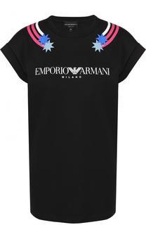 Хлопковая футболка прямого кроя с логотипом бренда Emporio Armani