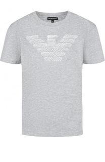 Хлопковая футболка с контрастной вышивкой Emporio Armani