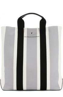 Текстильная сумка-шоппер с кожаной отделкой CALVIN KLEIN 205W39NYC