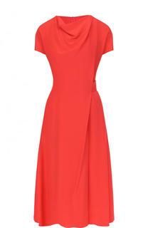 Приталенное шелковое платье-миди с драпировкой Emporio Armani