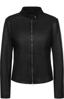 Однотонная кожаная куртка с воротником-стойкой Emporio Armani