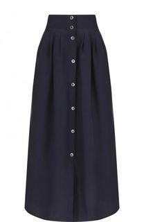 Однотонная юбка из смеси льна и шелка с хлопком Emporio Armani