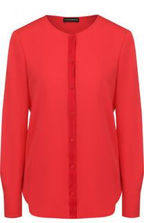 Однотонная шелковая блуза с круглым вырезом Emporio Armani