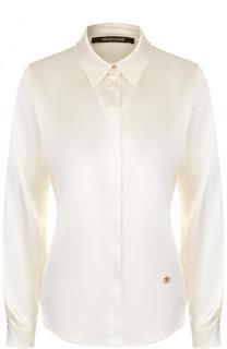 Однотонная приталенная блуза из шелка Roberto Cavalli
