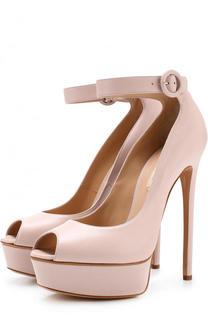 Кожаные туфли на шпильке и платформе Casadei