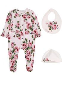 Хлопковый комплект из пижамы с шапкой и нагрудником Dolce & Gabbana