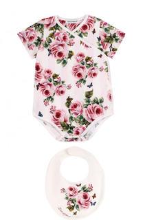 Хлопковый комплект из боди и нагрудника Dolce & Gabbana