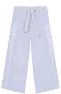 Расклешенные брюки с вышивкой и поясом Armani Junior